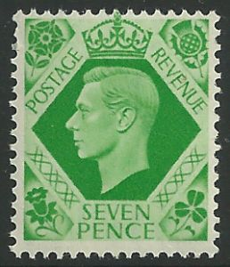 SG471 7d Emerald Green Unmounted Mint (George VI 1937 Definitive Stamps)